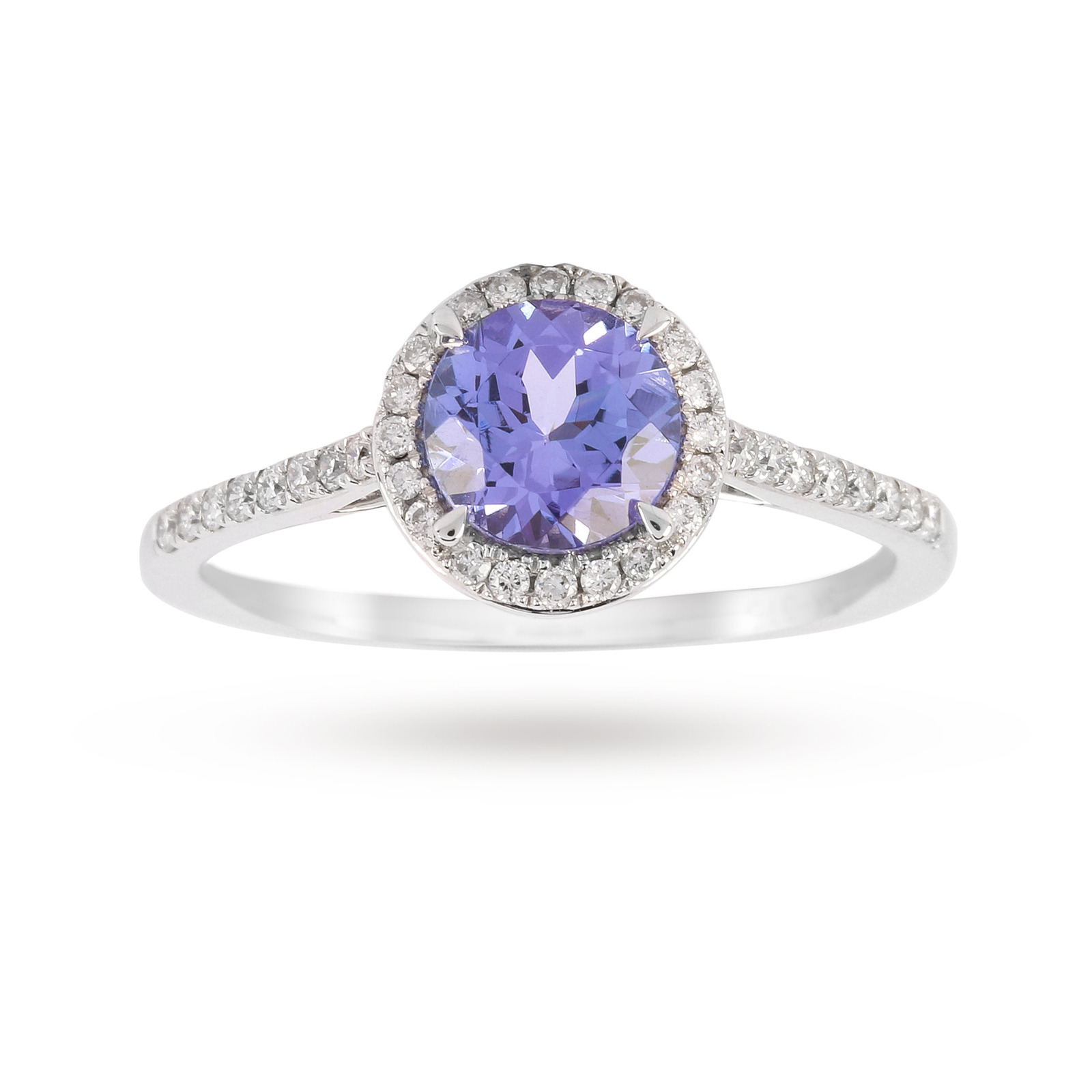 9ct White Gold 6mm Tanzanite And 0.15ct Diamond Round Halo Ring - Ring Size J