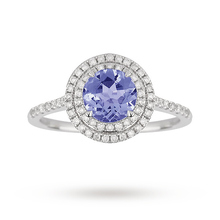 9ct White Gold 6x6mm Tanzanite and 0.25ct Diamond Halo Ring
