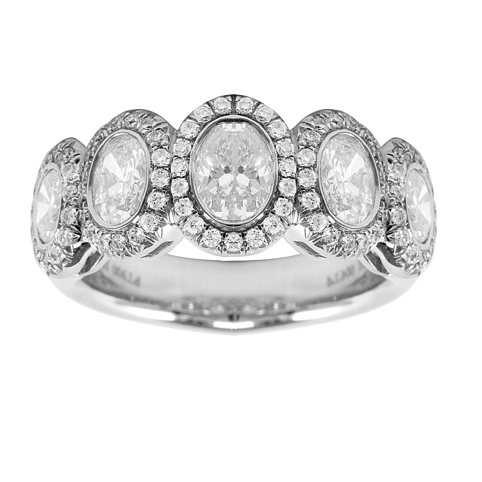 Platinum 1.66ct Oval Bezel Eternity Ring - Size M