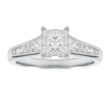 Platinum 1.84ct Princess Cut Engagement Ring - Size M