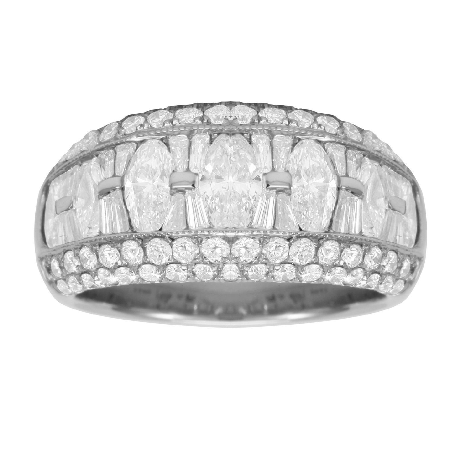 Platinum 2.10ct Marquise Cut Eternity Ring - Size K.5