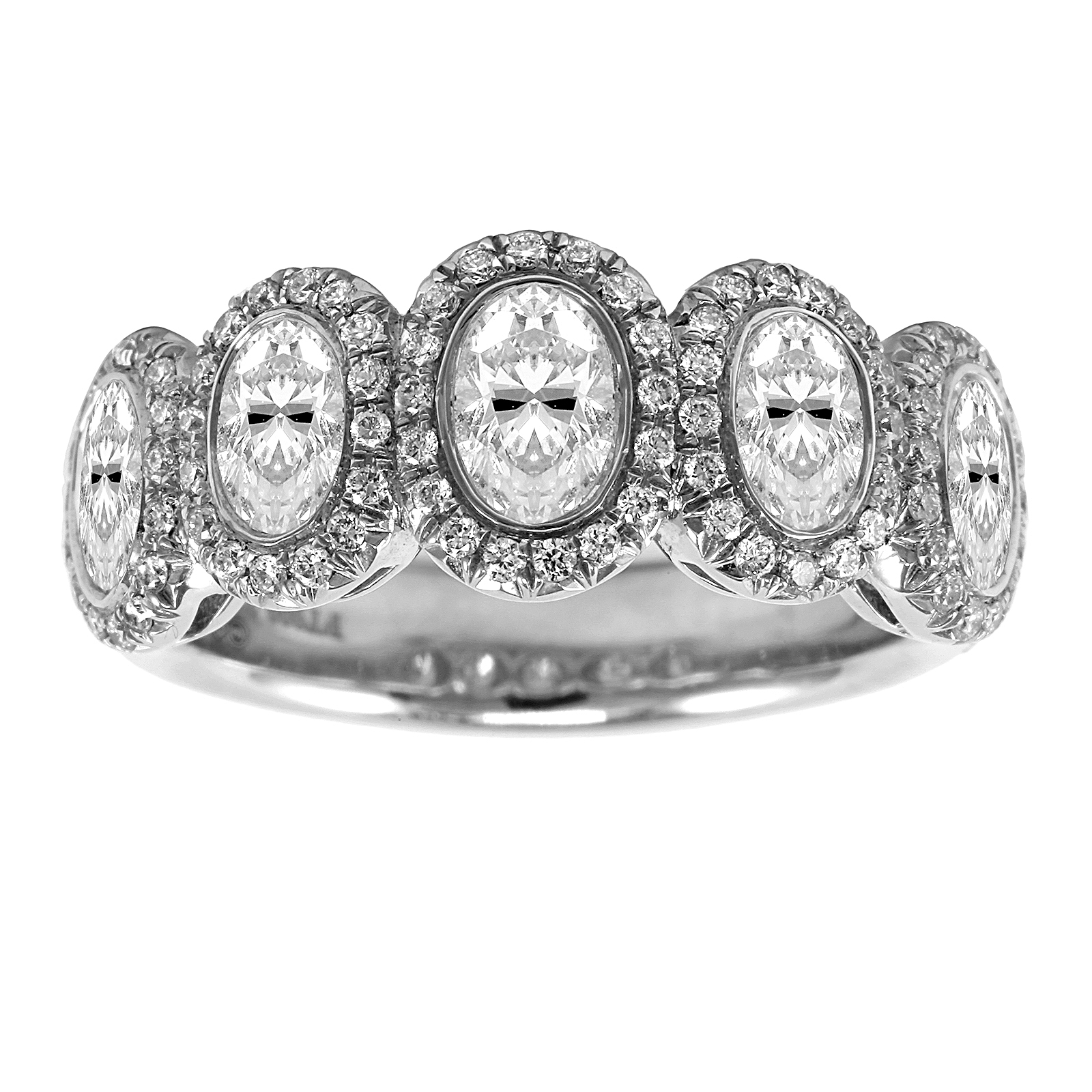 Platinum 2.12ct Oval Bezel Eternity Ring - Size L