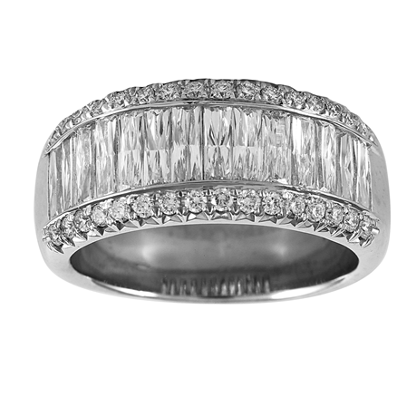 Mayors Platinum 2.28ct Baguette Cut Eternity Ring - Ring Size M