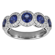 Mayors Platinum 0.44ct Diamond & Sapphire Eternity Ring - Ring Size M