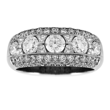 Mayors Platinum 2.50ct 3 Row Diamond Eternity Ring - Ring Size L