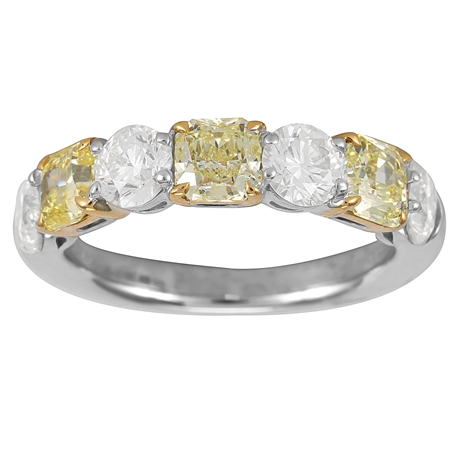 Platinium and 18ct Gold 2.58ct Radiant Cut Diamond Eternity Ring