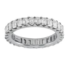 Mayors Platinum 3.50ct Emerald Cut Full Eternity Ring - Ring Size L