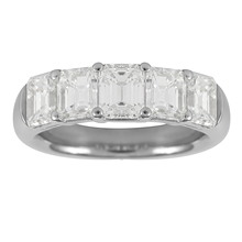 Platinum 3.51ct Emerald Cut Eternity Ring - Size L