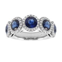Mayors Platinum 0.41ct Diamond & Sapphire Eternity Ring - Ring Size M