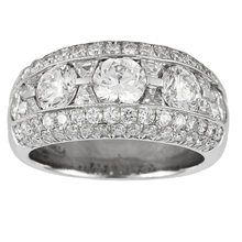 Platinum 2.78ct 5 Row Diamond Eternity Ring - Size L