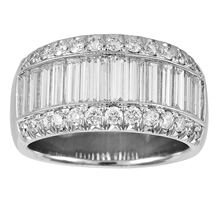 Platinum 2.15ct 3 Row Diamond Baguette Cut Eternity Ring - Size L