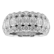 Mayors Platinum 3 Row Diamond Eternity Ring - Ring Size L