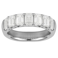 Platinum 2.71ct Diamond Emerald Cut Eternity Ring - Size L