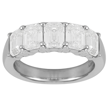 Platinum 3.56ct Diamond Emerald Cut Eternity Ring - Size M