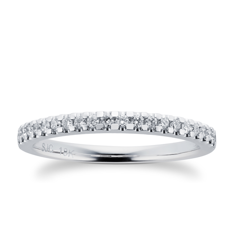 Brilliant cut 0.20 total carat weight diamond stacking ring in 18 carat white gold