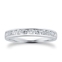 Brilliant Cut 0.50ct Channel Set Half Eternity Ring In 9ct White Gold