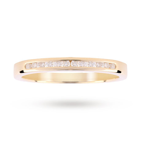For Her - 9ct Yellow Gold 0.15ct Diamond Channel Set Ring - M06503498