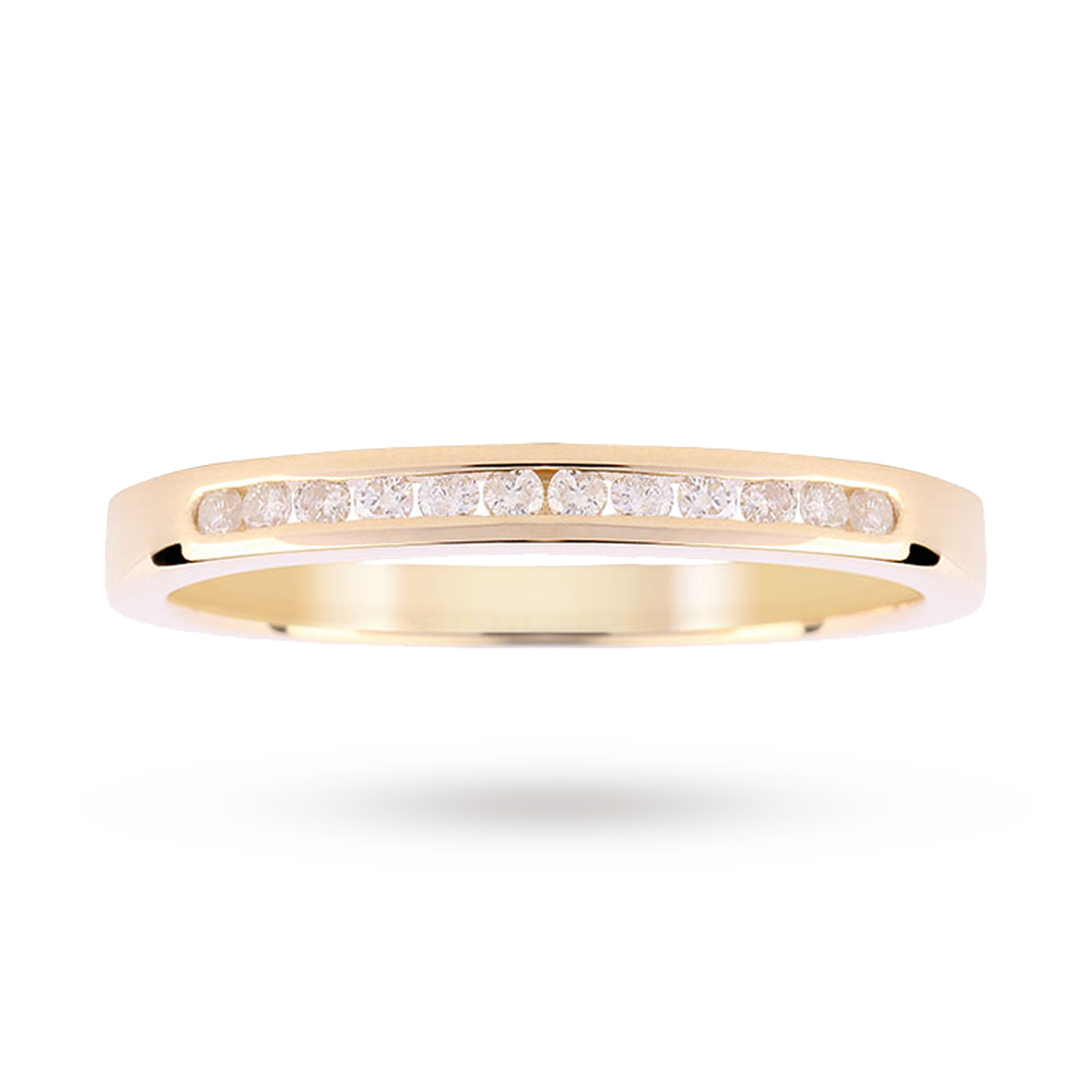 9ct Yellow Gold 0.15ct Diamond Channel Set Ring - Ring Size M