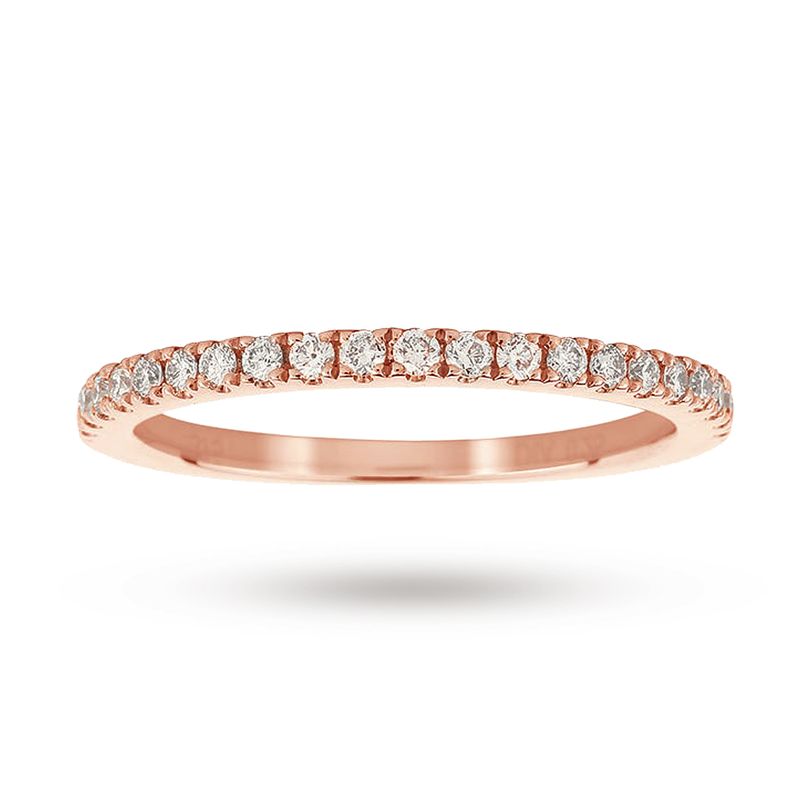 9ct Rose Gold Claw Set Skinny 0.25ct Diamond Ring - Ring Size J