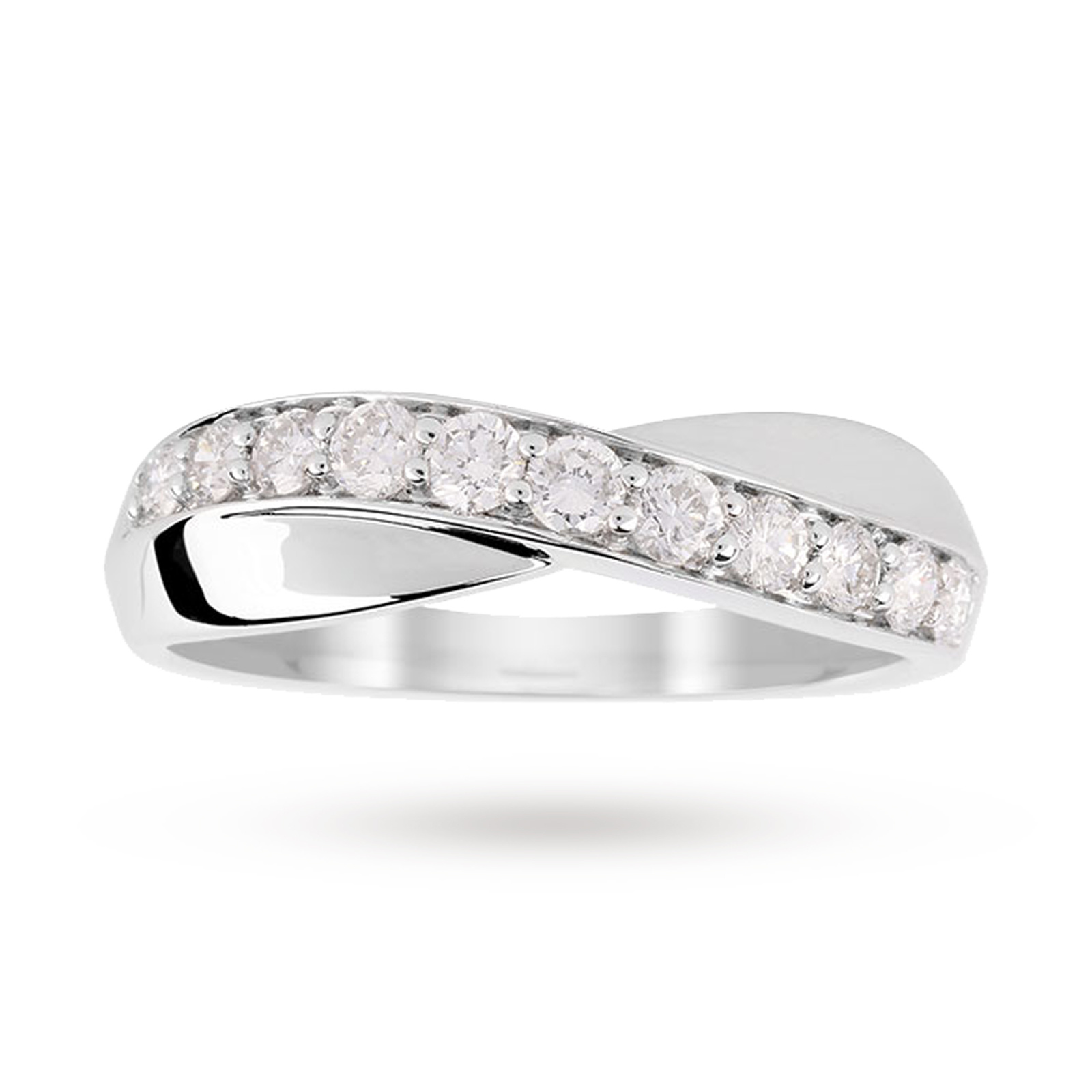 9ct White Gold Cross Over 0.50ct Diamond Ring - Ring Size J