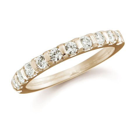 For Her - 18ct Yellow Gold 0.77ct Bar Set Half Eternity Ring - M06503515