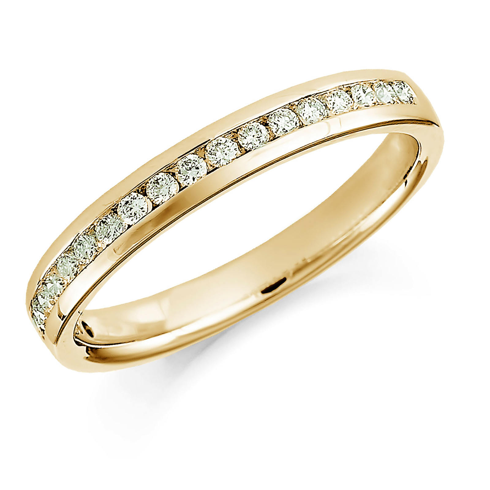 18ct Yellow Gold 0.20ct Round Brilliant Cut Channel Set Half Eternity Ring