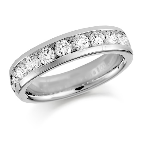 Platinum 1.00ct Round Brilliant Cut Channel Set Half Eternity Ring