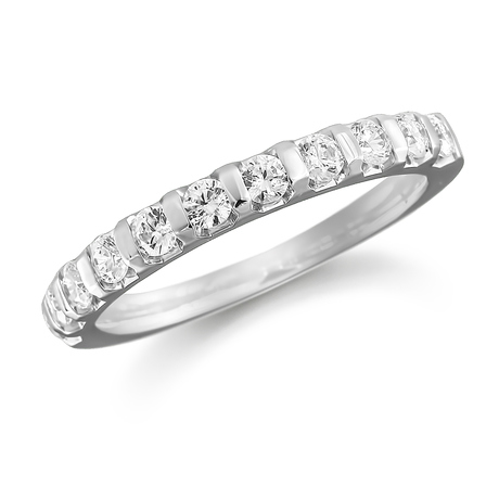 Platinum 0.50ct Bar Set Half Eternity Ring
