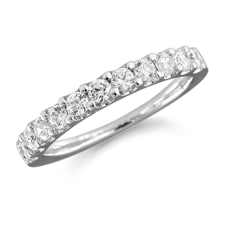 18ct White Gold 0.50ct Claw Set Half Eternity Ring