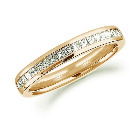 18ct Yellow Gold 0.50ct Princess Cut Channel Set Half Eternity Ring