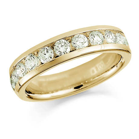 18ct Yellow Gold 0.75ct Round Brilliant Cut Channel Set Half Eternity Ring