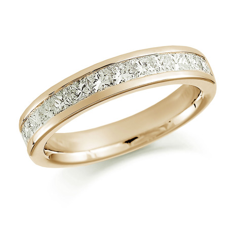 18ct Yellow Gold 0.75ct Princess Cut Channel Set Half Eternity Ring