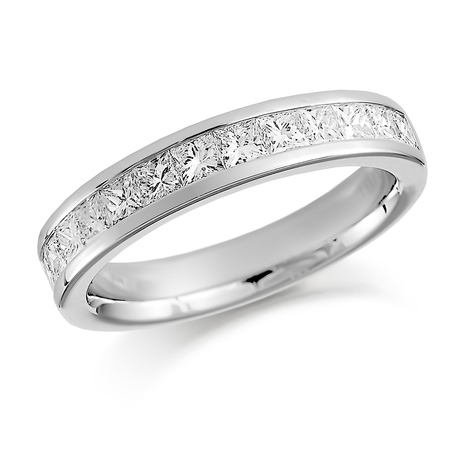 Platinum 0.75ct Princess Cut Channel Set Half Eternity Ring