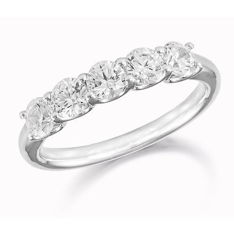 Platinum 0.50ct Five Stone Eternity Ring