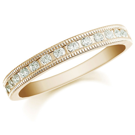18ct Yellow Gold 0.50ct Milgrained Edge Half Eternity Ring
