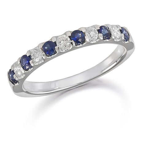 Platinum Diamond And Sapphire 0.73ct Half Eternity Ring