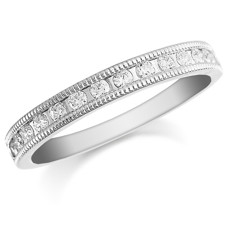 Mappin & Webb Platinum 0.50ct Milgrained Edge Half Eternity Ring