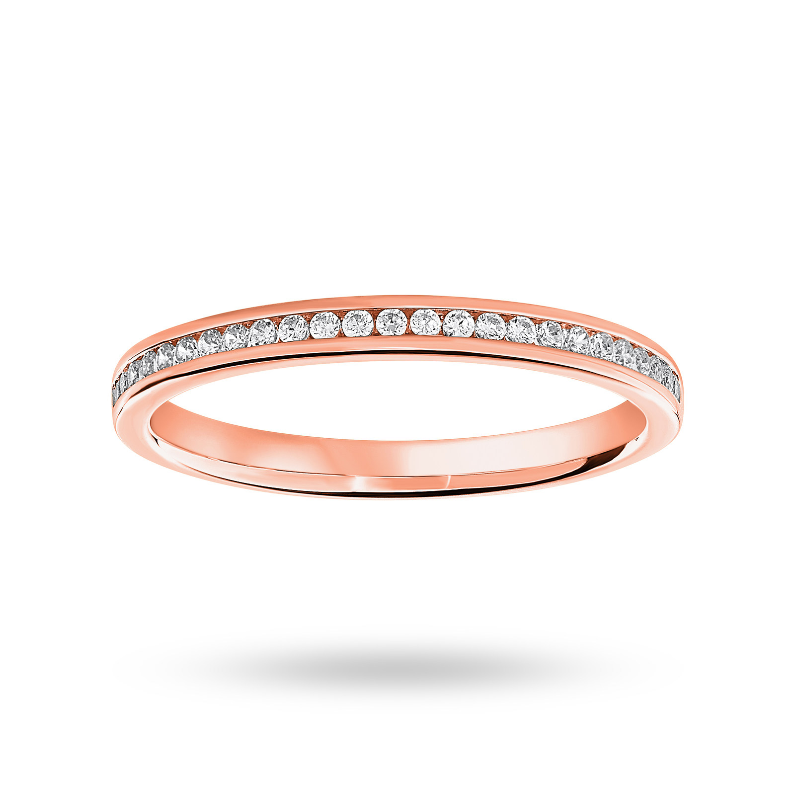 18 Carat Rose Gold 0.12 Carat Brilliant Cut Half Eternity Ring