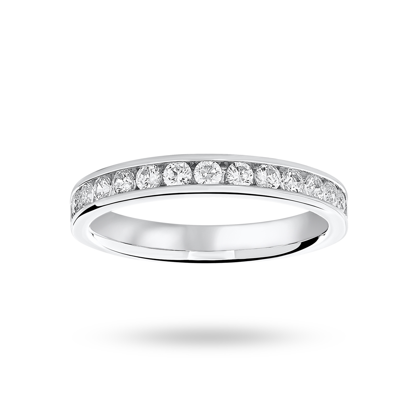 Platinum 0.50 Carat Brilliant Cut Half Eternity Ring