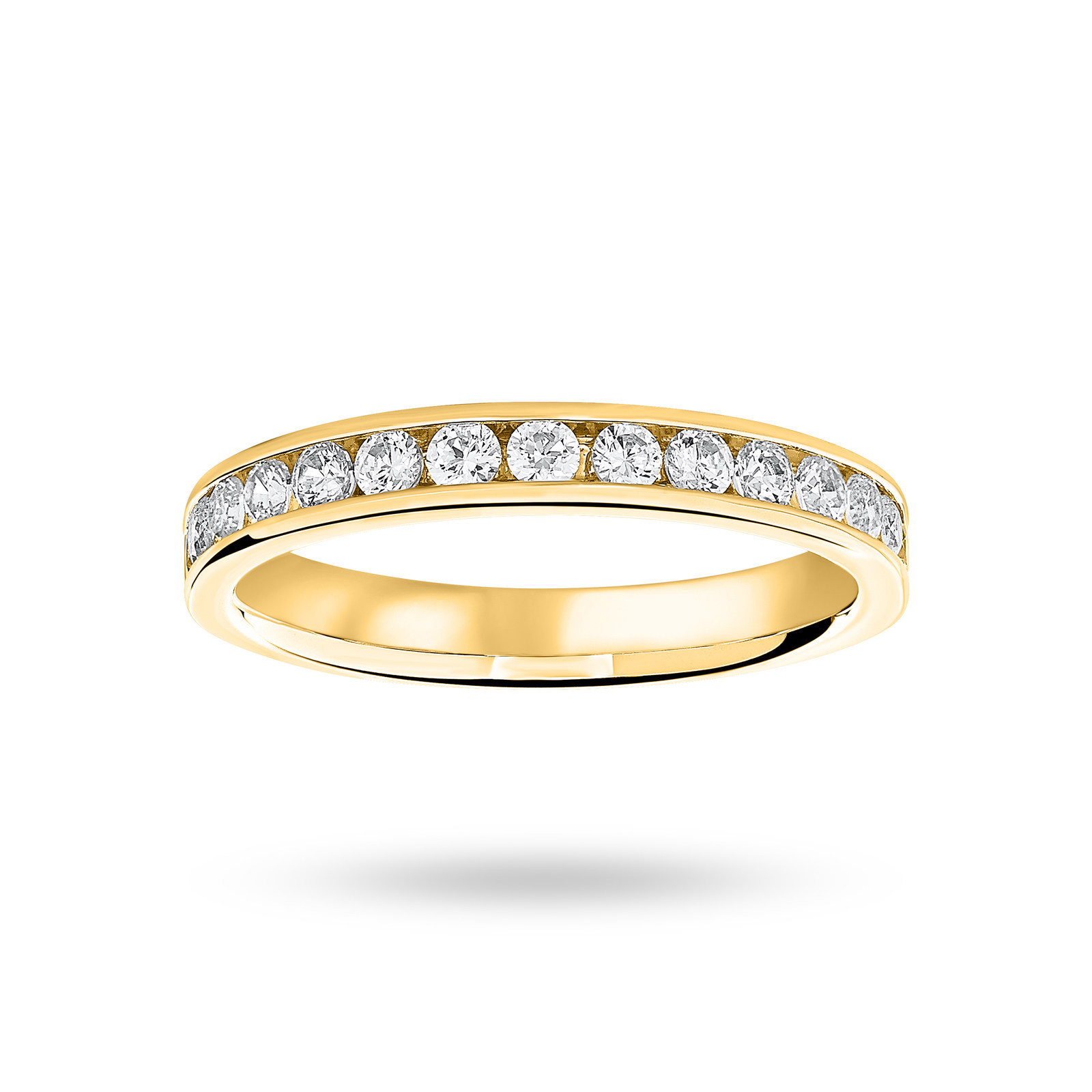 18 Carat Yellow Gold 0.50 Carat Brilliant Cut Half Eternity Ring