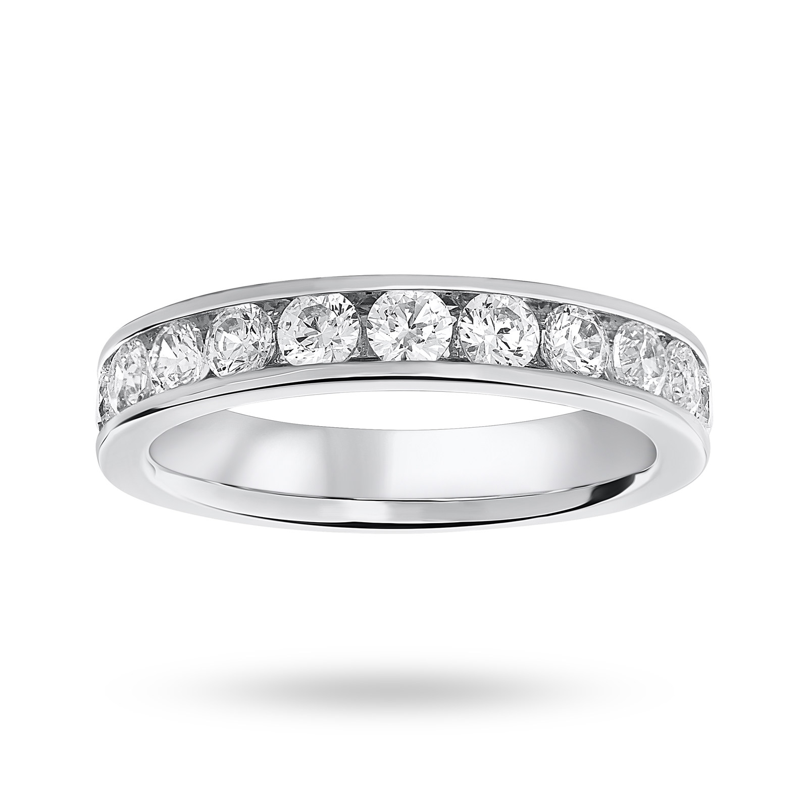 18 Carat White Gold 1.00 Carat Brilliant Cut Half Eternity Ring