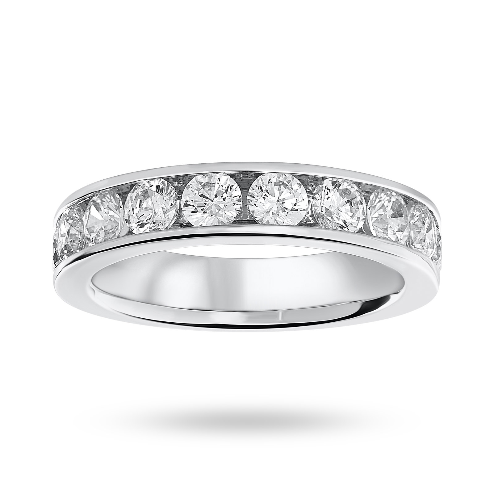 9 Carat White Gold 1.50 Carat Brilliant Cut Half Eternity Ring