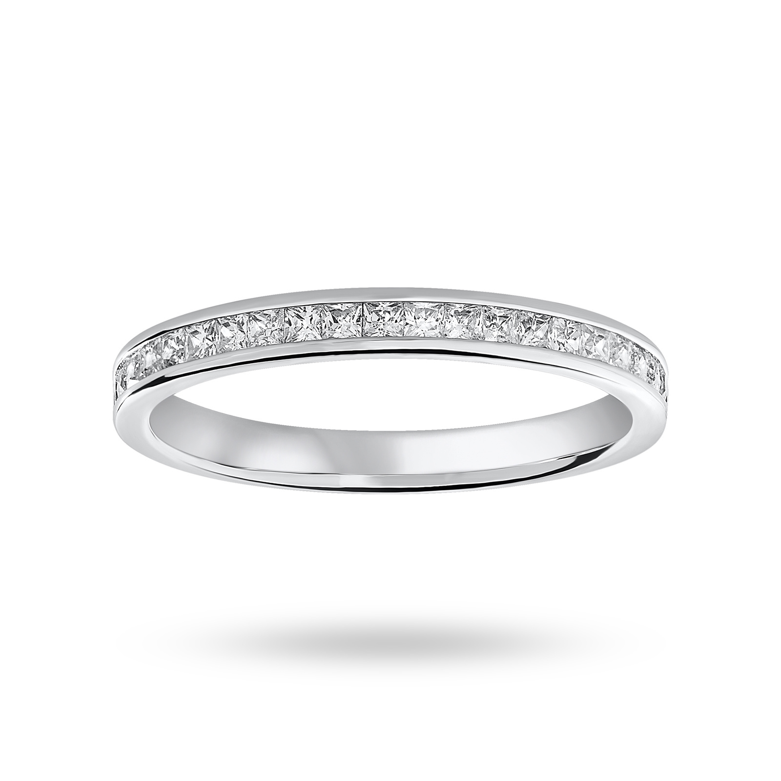 Platinum 0.33 Carat Princess Cut Half Eternity Ring