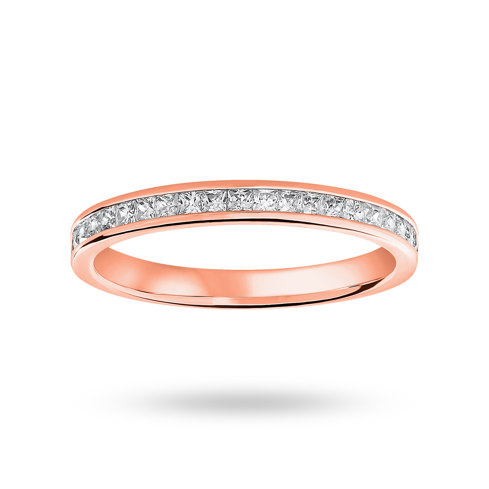9 Carat Rose Gold 0.33 Carat Princess Cut Half Eternity Ring
