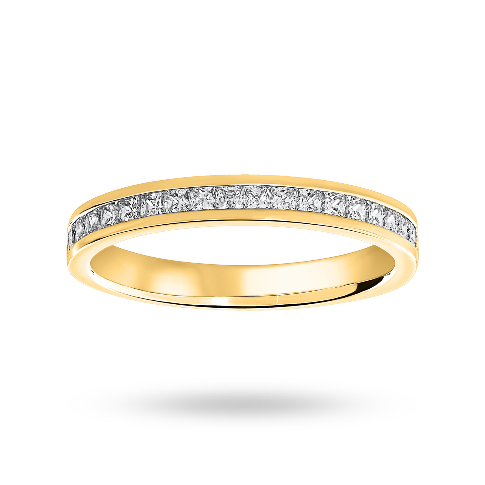 9 Carat Yellow Gold 0.50 Carat Princess Cut Half Eternity Ring