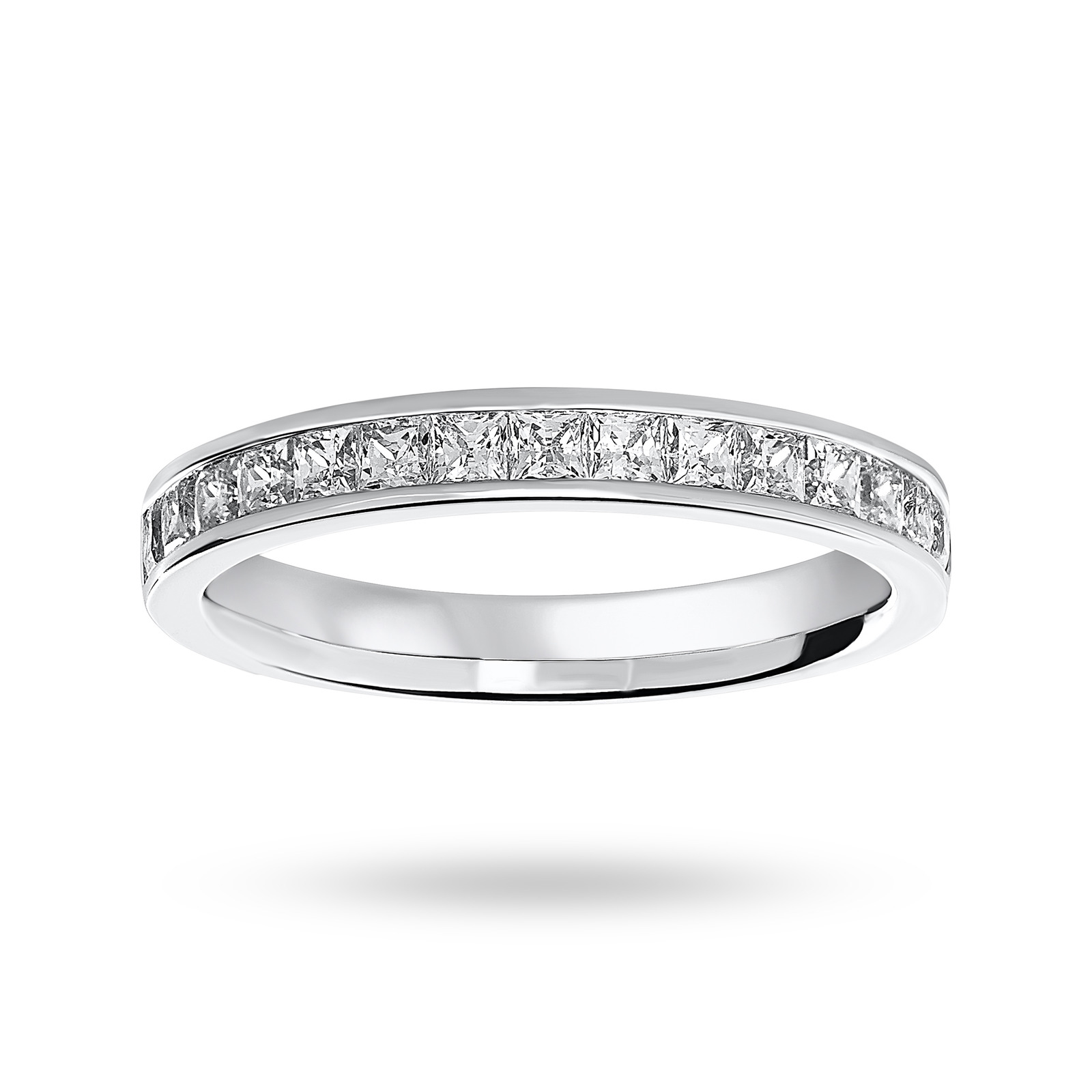 18 Carat White Gold 0.75 Carat Princess Cut Half Eternity Ring
