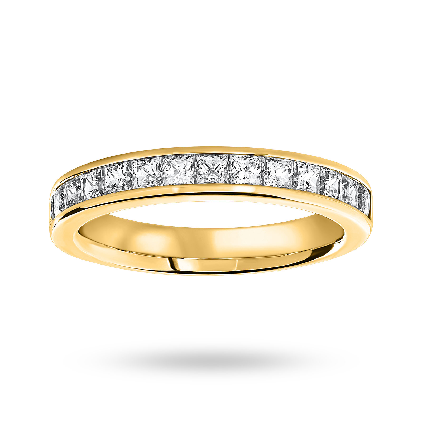 9 Carat Yellow Gold 1.00 Carat Princess Cut Half Eternity Ring