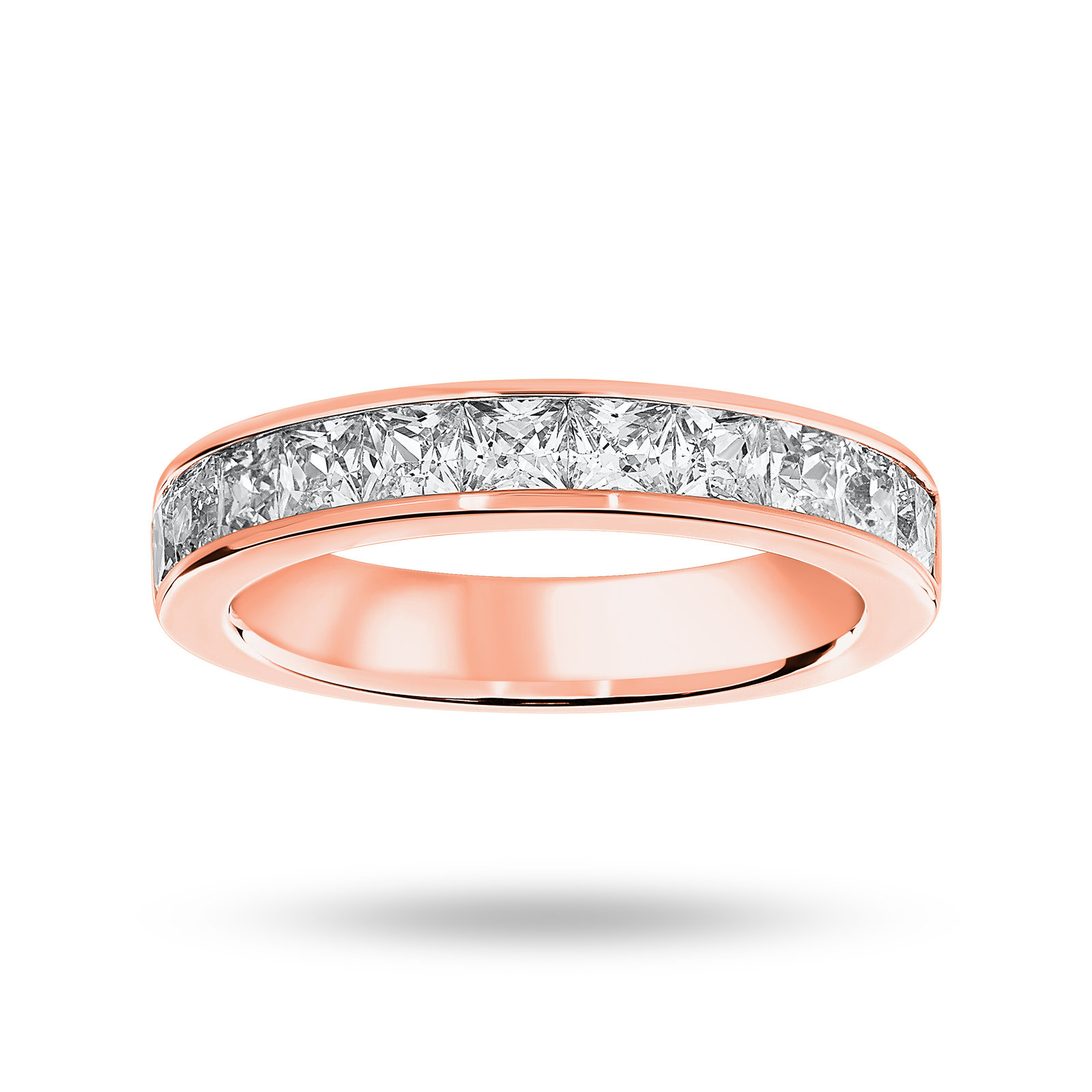 18 Carat Rose Gold 1.50 Carat Princess Cut Half Eternity Ring