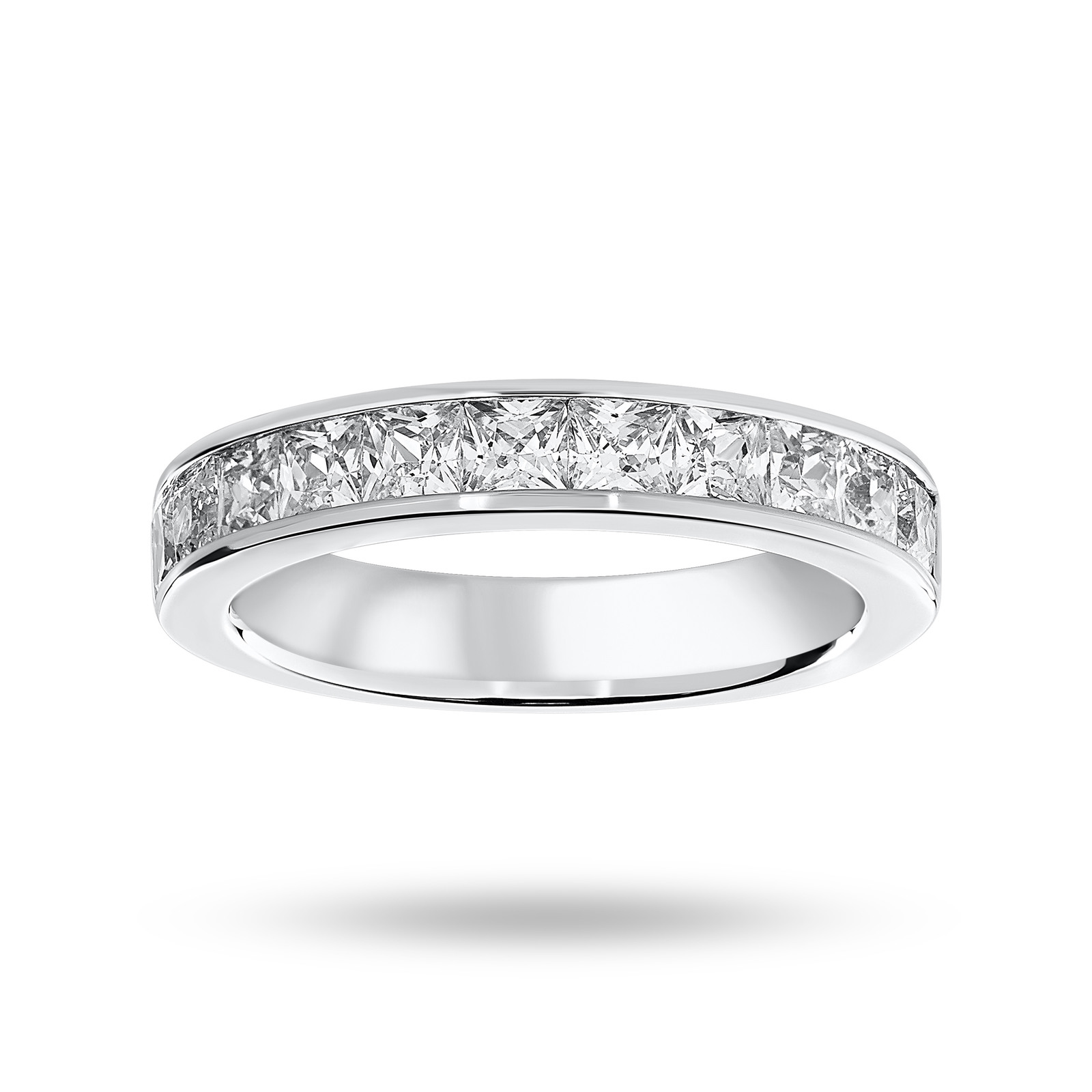18 Carat White Gold 1.50 Carat Princess Cut Half Eternity Ring