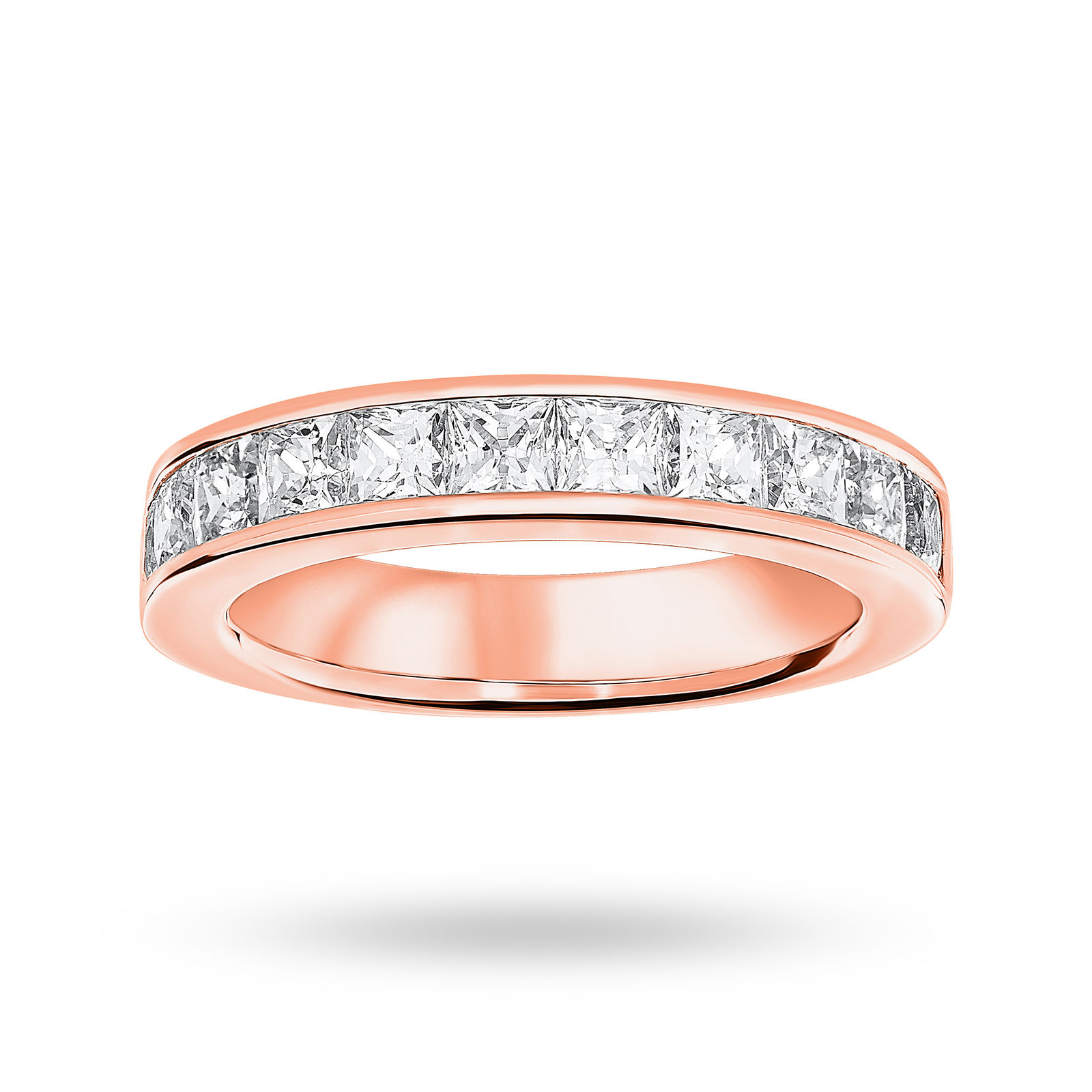 18 Carat Rose Gold 2.00 Carat Princess Cut Half Eternity Ring